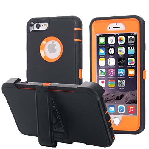 Ai-case Built-in Screen Protector Tough 4 in1 Rugged Shorkproof Cover With Kickstand for iPhone 6/6S Plus, Black/Orange