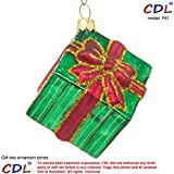 "CDL 3"" Shiny Green Square Present/Gift Box With Red Band And Bow Decorated With Glitter Stripes Christmas Tree Ornament Mouth Glass Blown Ornaments Gifts For boys F61"