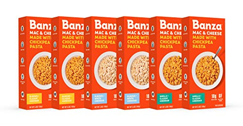 BANZA Chickpea Pasta - High Protein Gluten Free Healthy Pasta - Mac & Cheese Variety Pack (Pack of 6)