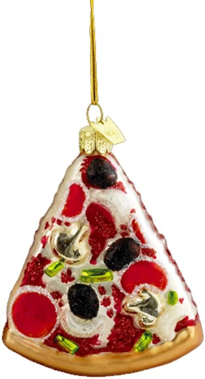 Noble Gems Kurt Adler 3-1/2-Inch Glass Pizza Slice Ornament