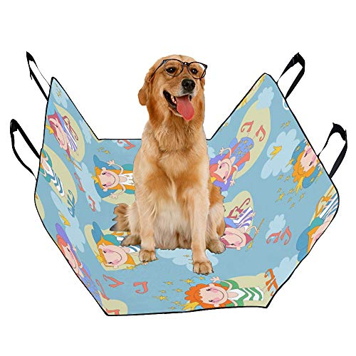 (JTMOVING Fashion Oxford Pet Car Seat Nightdress Hand-Painted Color Waterproof Nonslip Canine Pet Dog Bed Hammock Convertible for Cars Trucks SUV)