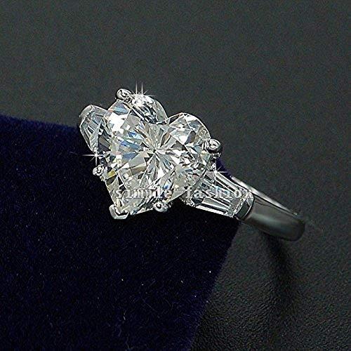 Duan Handmade Heart Cut 3ct Diamonique Cz 925 Silver Women Eternity Wedding Band Opening Ring