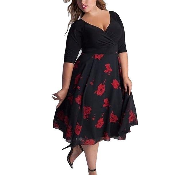 Cloom Frauen Plus Size Kleid Sexy V-Ausschnitt Floral Maxi Kleid ...