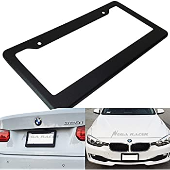 Mega Racer 1Pc JDM Style Matte Black Plastic License Plate Frame Front or Rear Cover Holder Tag USA Auto Car Sedan Truck SUV RV Van
