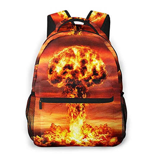 Travel Laptop Backpack Casual Backpack Nuclear Mushroom Cloud Fall Out, Anti Theft Durable Computer Bag, Water Resistant College School Bag for Women Men Fits 14 Inch Notebook (Nuclear Laptop Bag)
