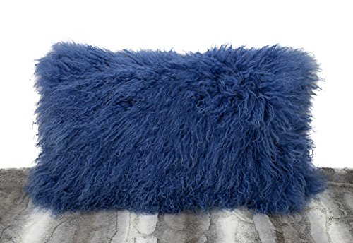 Fennco Styles Luxury Grade A Genuine Mongolian Lamb Fur Down Filled Decorative Throw Pillow Natural – Goat Fur, 20 x20 Case Only