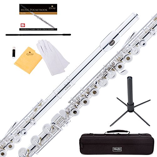 - Mendini Silver Plated Intermediate 17 Keys Open/Closed-Hole C Flute w/B Foot Joint, Durable Case, 1 Yr Warranty, Stand, Book, Cleaning Rod & Cloth, Joint Grease and Gloves MFE-30S