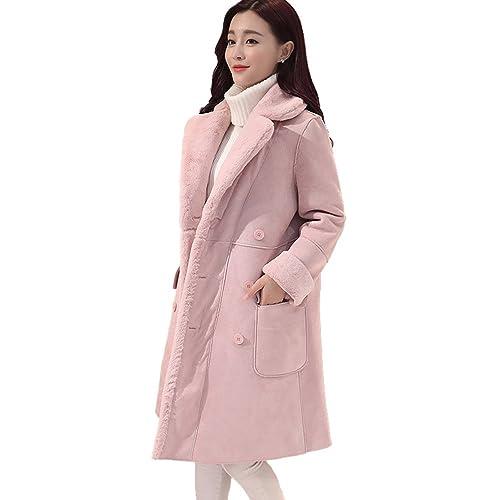 Abrigo De Lana De Cordero Sra. Más La Capa De Terciopelo Grueso Solapa De La Capa Y Largas Secciones Multicolor Multi-tamaño,Pink-s