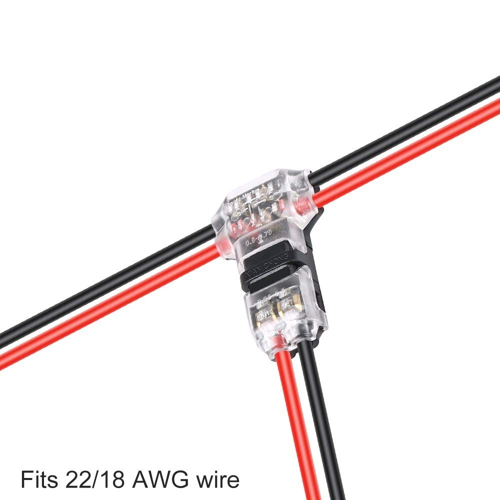Wire Connectors - TYUMEN 12pcs 2 Pin 2 Way Low Voltage Universal Compact Wire T Tap Connectors, No Wire-Stripping Required, Toolless Wire Connectors, Quick Splice Wire Wiring Connector for AWG 18-24