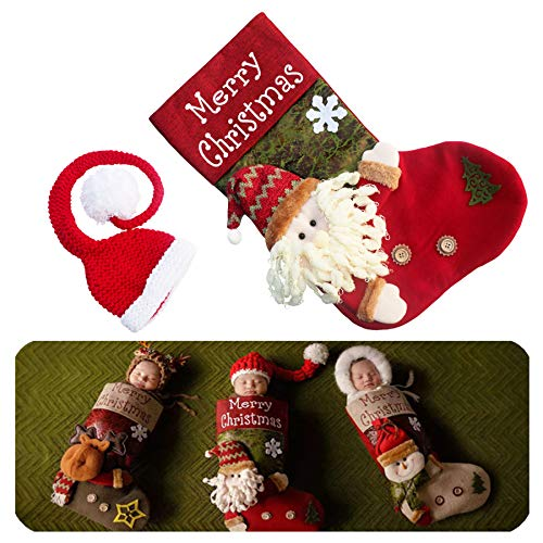 Newborn Baby Christmas Photography Props Christmas Costume Stocking Sleeping Bag & Xmas Santa Hat 2 PCS]()