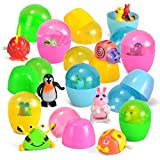 Joyin Toy 12 Pieces Easter Eggs Prefilled with Assorted Wind-up Toys Easter Basket Stuffer for Kids Easter Egg Stuffer Filler Party Favors