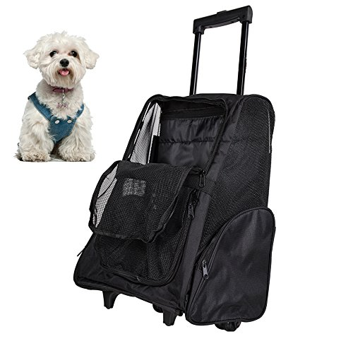 Lucky Tree Pet Travel Carrier Backpack with Wheels Airline Approved Soft Oxford Rolling Luggage Bag for Cat Dog Small Animal,3 Color