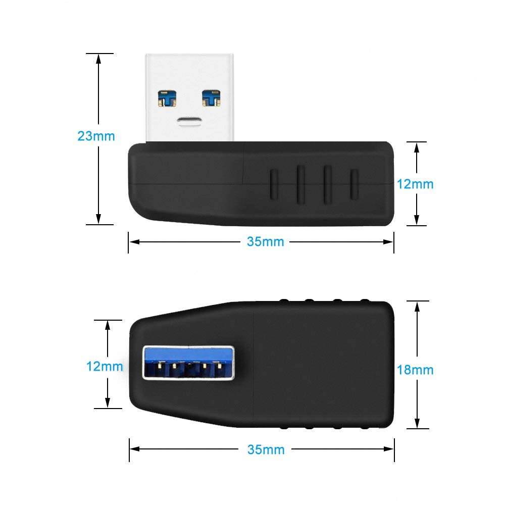 90 Degree USB 4 Packs ELUTENG Right Angle USB 3.0 Adapter Super Speed 5Gbps USB L Shape Extender Type A Male to Female Left and Right Coupler for PC//Laptop//TV