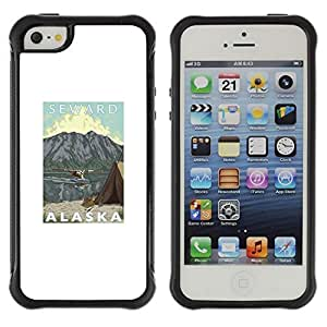 All-Round Hybrid Rubber Case Hard Cover Protective Accessory Compatible with Apple iPhone 5 & 5S - mountains state seward usa nature