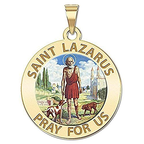 PicturesOnGold.com Saint Lazarus Religious Medal Color - 1 Inch Size of a Quarter in Solid 14K Yellow Gold with Engraving ()