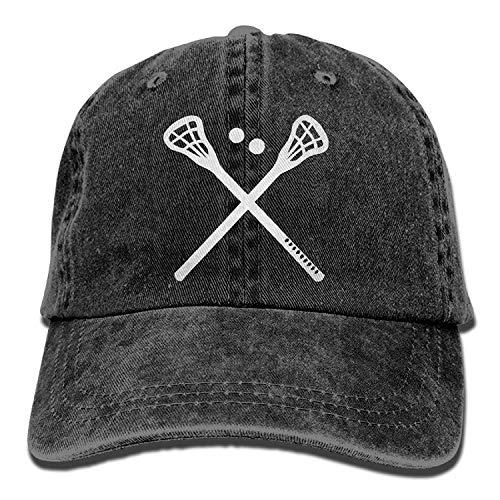 9b0101b58b061 Unisex Baseball Cap Hat Crossed Lacrosse Sticks Washed Jean Cabbie Cap for  Men