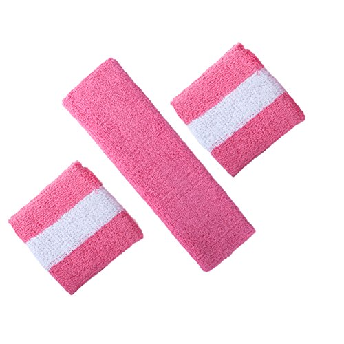 GOGO Thick Solid Color Sweatband Set (1 Headband + 2 Wristbands) - (Pink Solid Wristband)