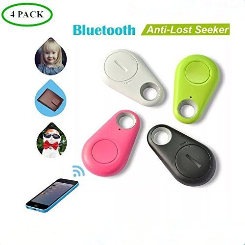Smart Finder Bluetooth Locator Pet Tracker Alarm GPS Tracker Key Wallet Car Kids Pet Dog Cat Bag Phone Locator Selfies Shutter Wireless Anti Lost Alarm Sensor-Random Color Bluetooth Tracker 4 Pack