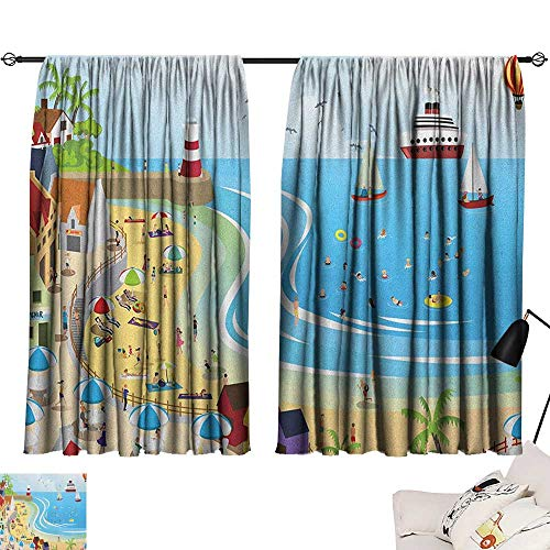 Blue Curtains Beach,Tropical Summer Holiday Destinations Cartoon Style Town Illustration Ships Balloon, Multicolor 84