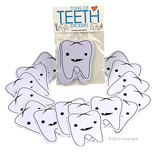 I Heart Guts Tons of Teeth Stickers - 15 Tooth Stickers - Vinyl Sticker Pack