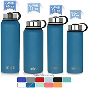 MIRA 40 oz Stainless Steel Vacuum Insulated Wide Mouth Water Bottle | Thermos Keeps Cold for 24 hours, Hot for 12 hours | Double Walled Powder Coated Travel Flask | Hawaiian Blue
