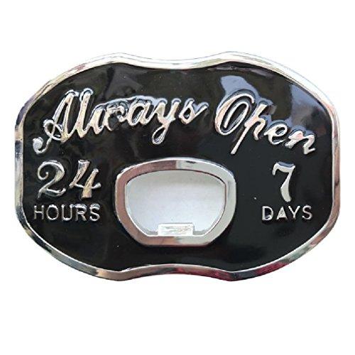 Vintage Always Open Beer Bottle Opener Funny Metal Belt Buckle Mens Cowboy (Beer Belt Buckle Bottle Opener)