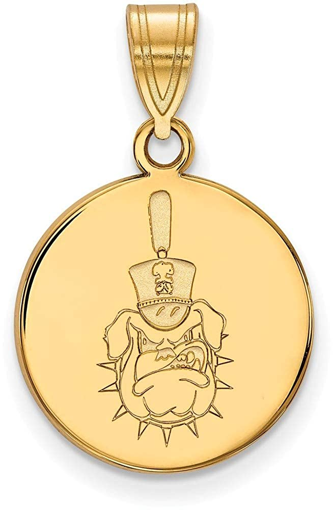 Gold-Plated Sterling Silver The Citadel Medium Disc Pendant by LogoArt GP035TCI