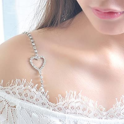 BESTOYARD Rhinestone Bra Straps Crystal Bra Straps Removable Bra Strap Replacement For Bra Tops Dress (Silver)