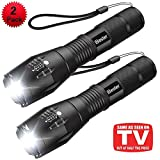Tactical Flashlight [2 Pack], iBester 1600 Lumens CREE XML-T6 LED Taclight As Seen On TV, Portable, Zoomable, 5 Modes, Water Resistant, Perfect for Camping, Outdoor, Home