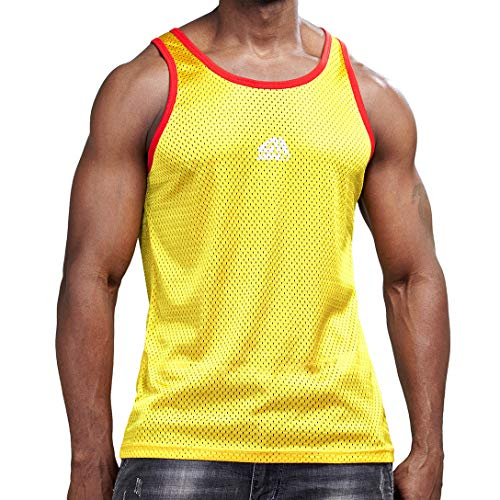 (AIMPACT Men Athletic Workout Tank Top Mesh Dry Fit Jersey Casual Sleeveless Shirts(Yellow XL) )