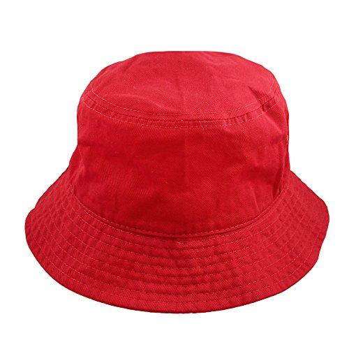 Falari Men Women Unisex Cotton Bucket Hat Large/X-Large Red