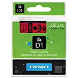 DYMO 45017 D1 High-Performance Polyester Removable Label Tape, 1/2'' x 23 ft, Black on Red