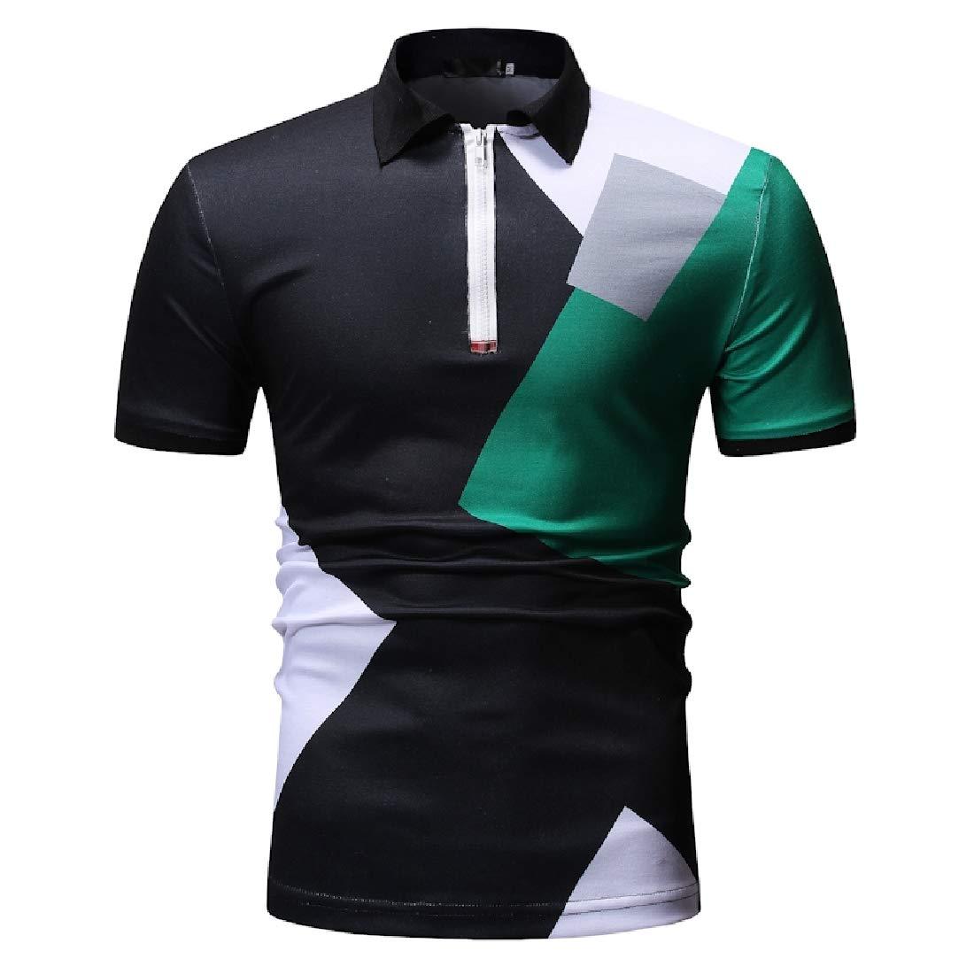 Zimaes-Men Zip Polo-Collar Assorted Colors Baggy Short Sleeve Tops Shirt