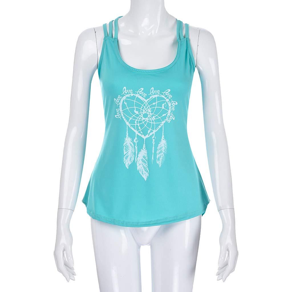 Crop Tops,2019 Women Loose Sleeveless Cross Back Hem Layed Zipper V-Neck T Shirts Tops