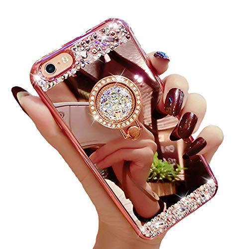 Black Lemon iPhone 6 Mirror Case, iPhone 6s Bling Case, Luxury Diamond Soft Rubber Crystal Rhinestone Glitter Mirror Case for Girls with Ring Stand (Rose Gold)