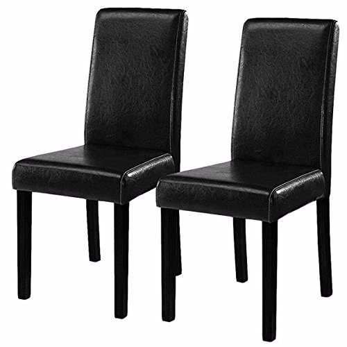 New Set of 2 Black Elegant Design Leather Contemporary Dining Chairs Home Room Durable Wooden Frame and Durable Half-PU-Leather Fabric