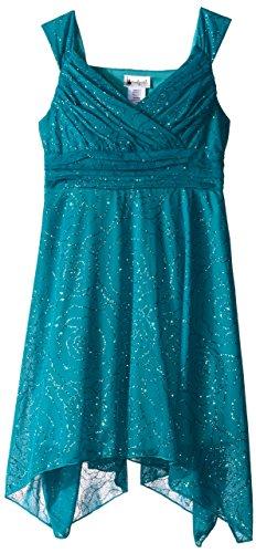 Emily West Big Girls' Knit Chiffon Floral Glitter Print Dress, Teal, 7 - Glitter Print Dress