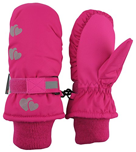 N'Ice Caps Kids Thinsulate Waterproof Reflector Winter Snow Ski Mittens (Fuchsia/Reflector Hearts 2, 5-7 Years)