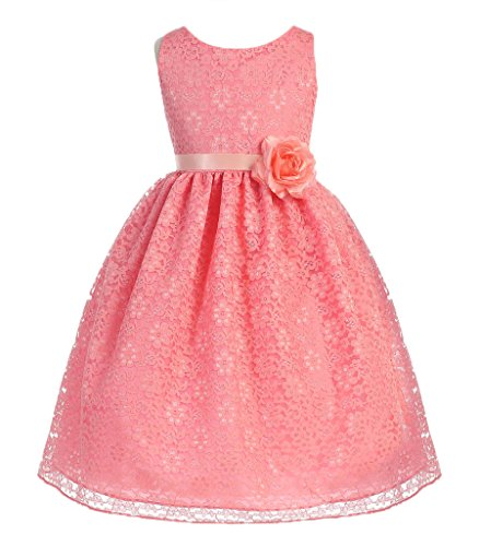 Natural Flower Coral Pink (AkiDress Lovely Floral Lace Flower Girl Dress for Little Girl Coral 4)