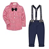 Baby Boy's 2 Pieces Tuxedo Outfit, Long Sleeves Plaids Button Down Dress Shirt with Bow Tie + Suspender Pants Set Suit for Infant Newborn Toddlers, Red, 3-4 Years = Tag 120