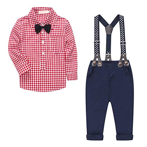 Baby Boy's 2 Pieces Tuxedo Outfit, Long Sleeves Plaids Button Down Dress Shirt with Bow Tie + Suspender Pants Set Suit for Infant Newborn Toddlers, Red, for 18-24 Months = Tag Size 95]()