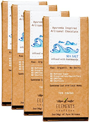Elements Truffles Sea Salt Bar with Turmeric Infusion - Dairy Free Chocolate Bar - Gluten Free, Non-GMO, Raw & Organic Chocolate Bar - Ayurveda Inspired Healthy Chocolate Bar - Four Pack