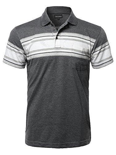Style by William Casual Basic Striped Single Chest Pocket Short Sleeves Polo T-Shirt Charcoal S