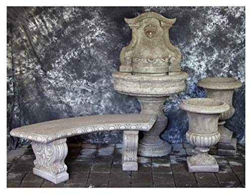 Fleur de Lis Garden Ornaments LLC Palermo Wall Fountain with Italian Palazzo Urns and Curved Bench Package Number 1047 ()