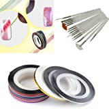 28 Color Nail Art Stripe Striping Tape Line Decoration Sticker + 15pcs Painting Brushes Pen Set