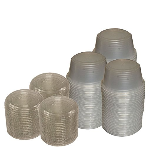 (Primebaker Disposable Translucent Plastic Cups with Lids, 100 Count - 3 1/4 Ounce)