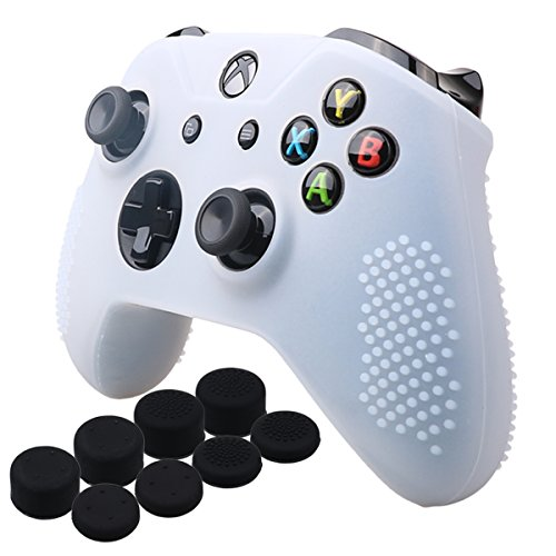 YoRHa Studded Silicone Cover Skin Case for Microsoft Xbox One X & Xbox One S controller[After 8.2016 model] x 1(clear) With Pro thumb grips 8 pieces