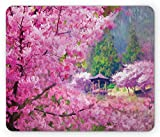 Drempad Luxury Gaming Mouse Pad Custom, Nature Mouse Pad, Landscape with Sakura Flower Distant Mountain Japanese Pavilion Forest Image, Standard Size Rectangle Non-Slip Rubber Mousepad, Fuchsia Green