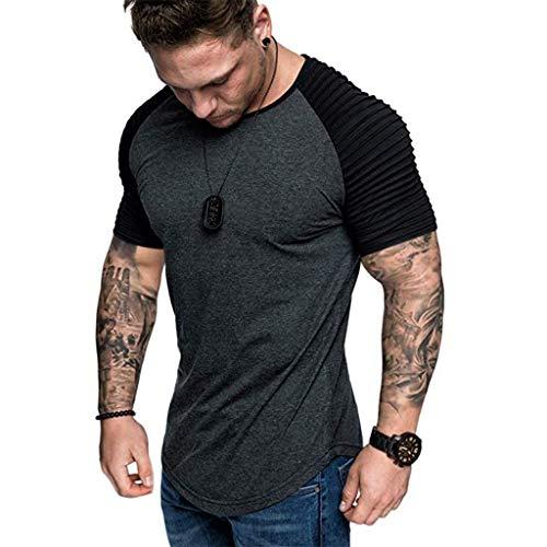- Mens Casual Short Sleeve Slim Fit T-Shirt Bodybuilding Muscle Fitness Tee Tops (US XXL, Dark Grey+Black)