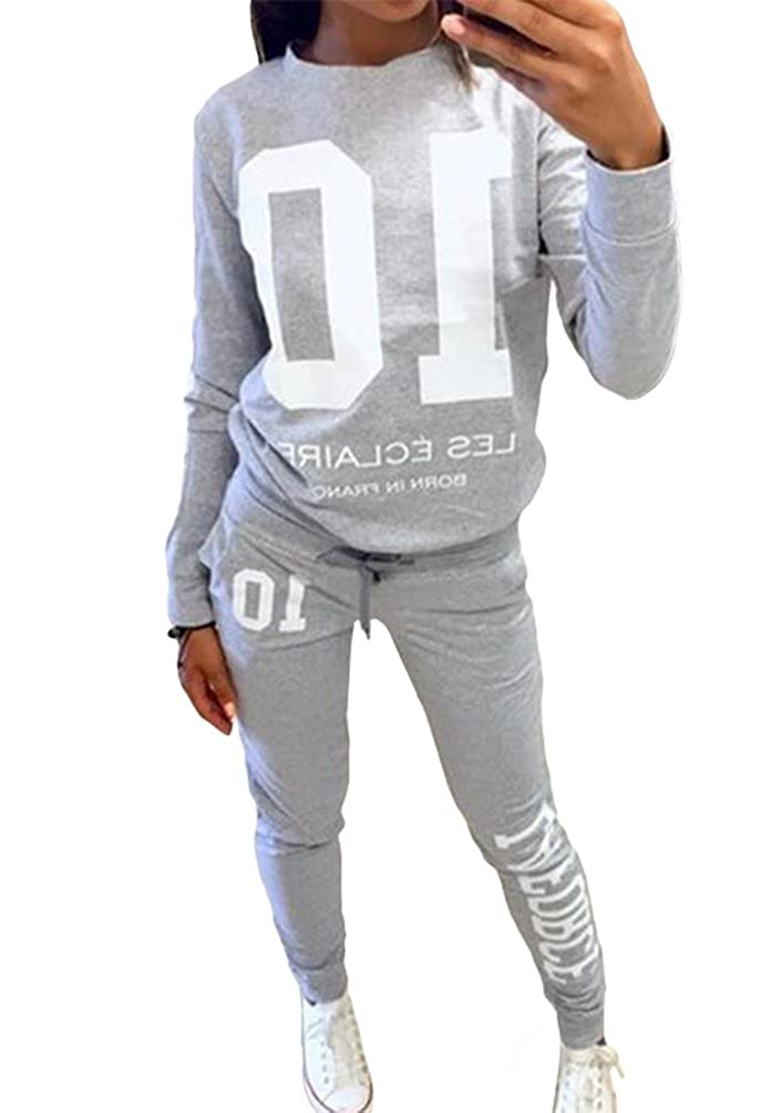 Baymate Women's Letter Printed Pullover Sport Sweatshirt and Pants 2pcs Set Tracksuit